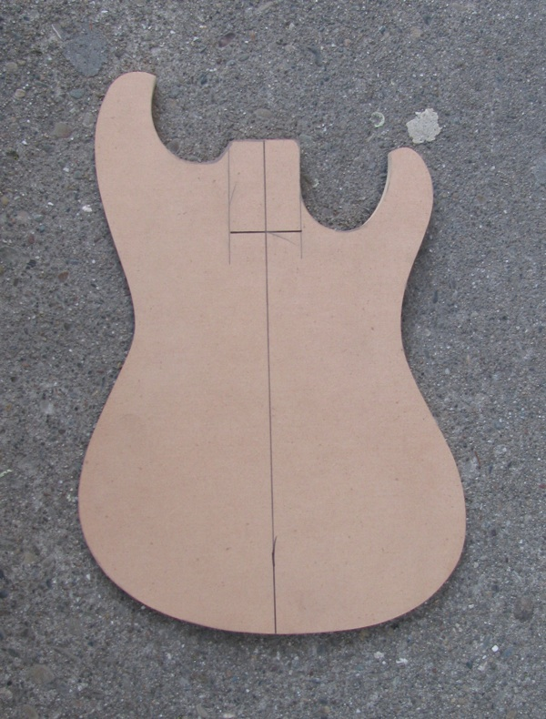 Wood project guitar pickup routing templates for Bass guitar body templates